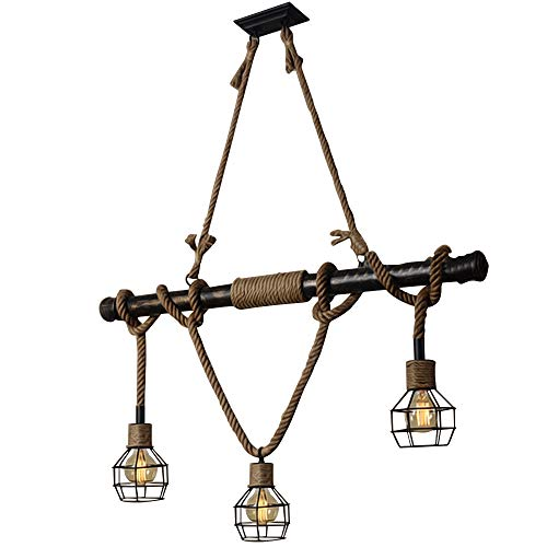 Bronze Antique Hanging (BAYCHEER HL409469 Multi-Light Natural Rope Pendant Lights Chandelier Celling Lamp Hanging Light Fixture with Cage Guard for Indoor Warehouse Barn in Dark Bronze use 3 E26 Bulbs)
