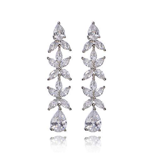 (Women's Cubic Zirconia Wedding Long Leaf Linear Drop Earrings Rhinestone CZ Cluster Floral Linear Drop Earrings for Wedding Flower Bridal Teardrop Bling Dangle Earrings for Pageant Gala)