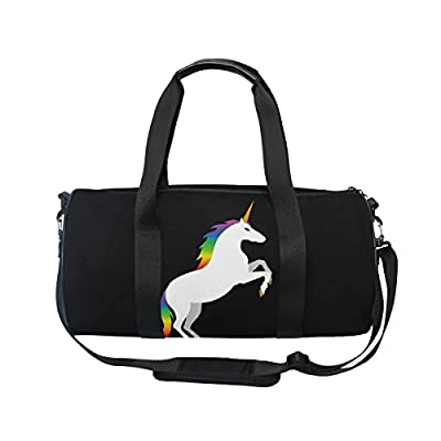 low-cost ALAZA Stylish Rainbow Unicorn Sports Gym Duffel Bag Travel Luggage  Handbag for Men 41c6a95618