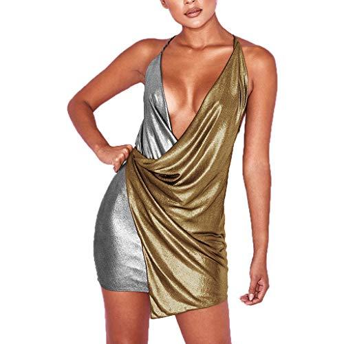 Women Deep V Halter Wrap Sleeveless Backless Nightclub Mini Evening Dress Sexy Short Strap Bodycon Dress Gold ()