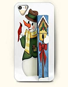 SevenArc iPhone 5 5s Case - Merry Xmas Snowman In Green Outfit With Red Parrot