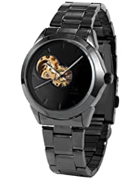 AMPM24 New Black Skeleton Men's Roman Cool Automatic Mechanical Steel Band Analog Watch PMW114