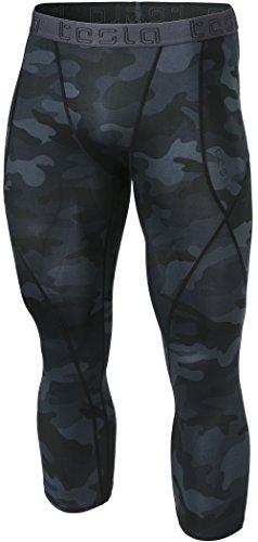 Mens Pants Camo Medium - TSLA Men's Compression 3/4 Capri Pants Baselayer Cool Dry Sports Running Yoga Tights, Atheltic(muc18) - Camo Black, Medium