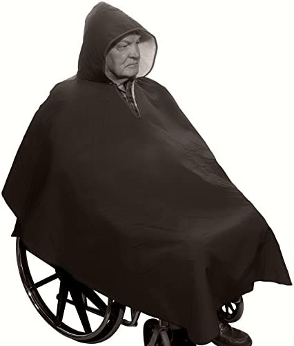 Warm Winter Wheelchair Poncho with Sherpa-Like Lining-Unisex (Black)
