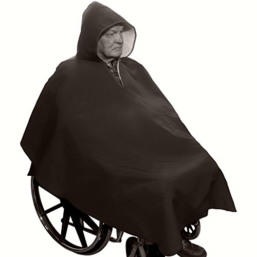 Warm Winter Wheelchair Poncho with Sherpa-Like Lining-Unisex (Black) (Full Shearling Lining)