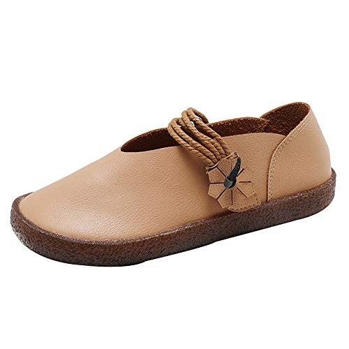 FORUU Women Round Toe Flat Slip-on Casual Comfortable Shoes Ethnic Style Shoes