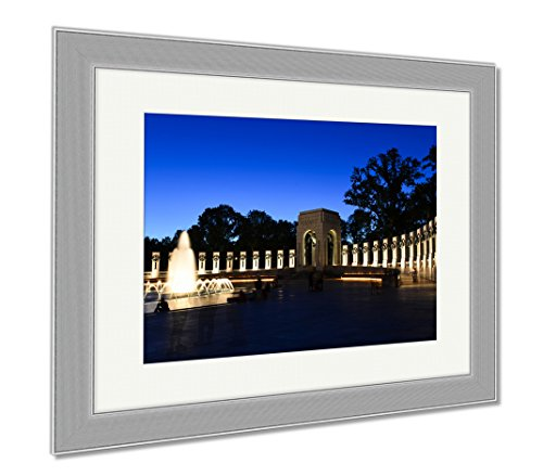 Ashley Framed Prints Lincoln Memorial Washington Dc National Wwii Memorial At Night, Wall Art Home Decoration, Color, 30x35 (frame size), Silver Frame, - Shops Mall City In Memorial