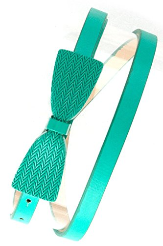TRENDY FASHION JEWELRY SKINNY BELT WITH TEXTURE BOW BUCKLE BELT BY FASHION DESTINATION   (Mint)
