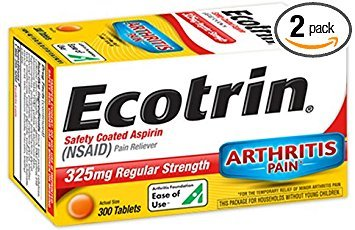 Ecotrin Safety Coated Aspirin 325 mg Regular Strength Pain Reliever - 300 Tablets, Pack of 2 by Ecotrin