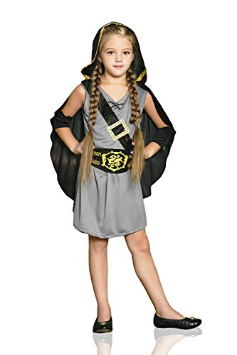 [Kids Girls Robin Hood Halloween Costume Forest Lady Archer Dress Up & Role Play (3-6 years, grey, black,] (Halloween Costumes Ideas For Girls Age 12)