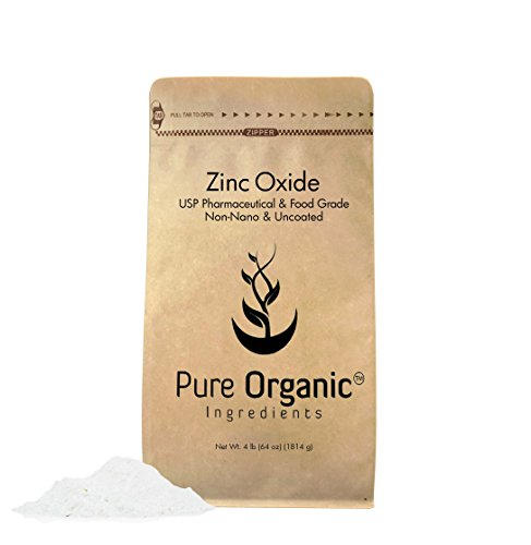 Zinc Oxide Powder (4 lb.) by Pure Organic Ingredients, Eco-Friendly Packaging, Non-Nano, Uncoated, Food & USP Grade, For Sunscreen, Diaper Rash Ointment, Burn Relief & Chapped Lips Remedy