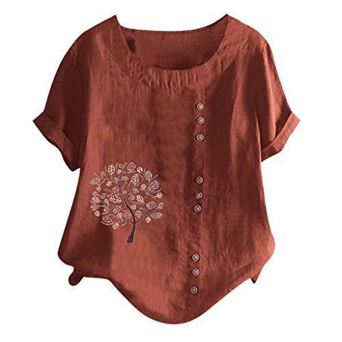 LEKODE Women T-Shirt Pretty Short Sleeve Lightweight Popular Round Neck Pullover Tunic(Brown,5XL) (Polo Horse Cookie Cutter)