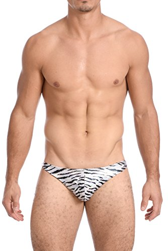 Gary Majdell Sport Mens Print Thong Swimsuit (Large, Wild Tiger)