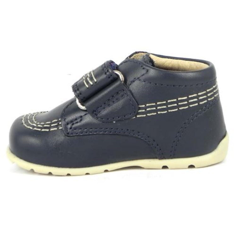 Kickers Kids Kick Hi Baby Strap Core Boots - Navy Blue Leather Kids Velcro Boots