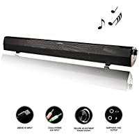 LONPOO 24 USB Powered PC Soundbar 10W HI-FI Stereo Full Range Speakers with Big Volume Knob, AUX Wired Output (LP-500)