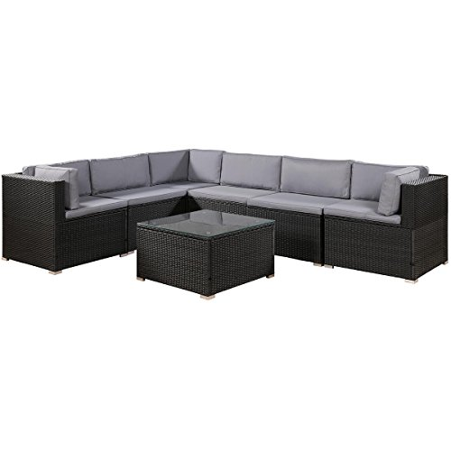 Romatlink 7 Pieces Outdoor Rattan Patio Furniture Set, Modern Conversation Sectional Sofa Chairs ...