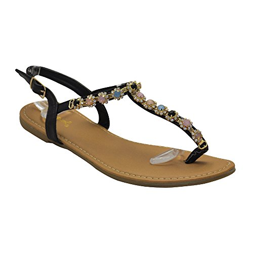 Qupid. Archer-476 Womens Embellished Sandal Black PU Size 8.5