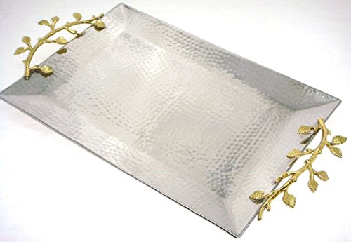 Elegance 70038 Golden Vine Gilt Leaf serving and decorative tray 16 inch by 11 inch Gold, Silver by Elegance (Image #1)