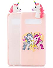 Soft Silicone Case for Samsung Galaxy S10 Plus,Aoucase Slim Thin 3D Animals Pattern Gel Rubber Drop Protection Protective Case with Black Dual-use Stylus,Cartoon Pony
