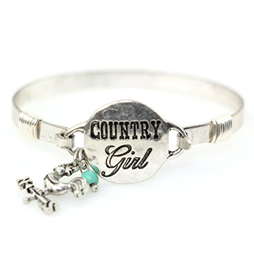'Country Girl' Handmade Beautiful Bangle Bracelet with Wire Design and Cute Rooster on Weather Vane Charm and Bead (Silver Burnish)