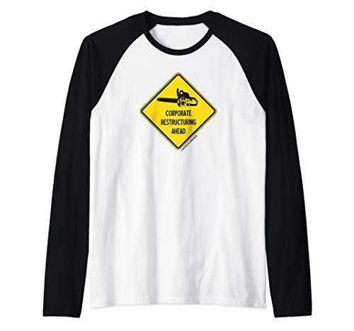 Corporate Restructuring Ahead Yellow Diamond Warning Sign Raglan Baseball Tee