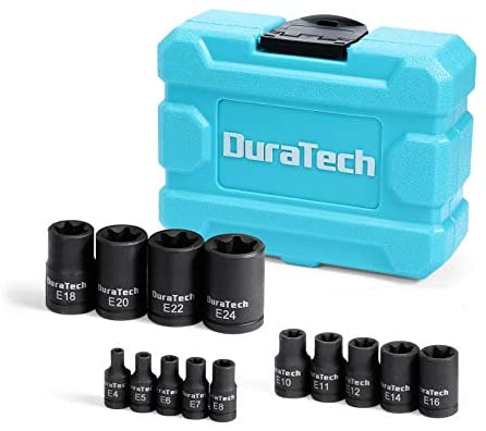 "DURATECH 14-Piece External Star Socket Set with Storage Case, Cr-V Steel, E4 to E20, 1/4"", 3/8"",1/2"" Drive Female E-Torx Torque Socket for Working with Impact Wrench"