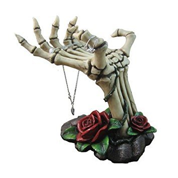 Gothic Home Decor (Spooky Skeleton Hands Jewelry Stand with Tray Display Rack and Red Roses or Decorative Key Holder Statue for Scary Halloween Decorations or Gothic Décor As Gifts for Women)