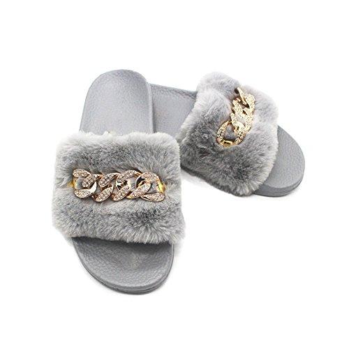 BERTERI Chain Metal Plush and Fashion Slippers Antiskid Winter Women's Gray Autumn rnPHxrf