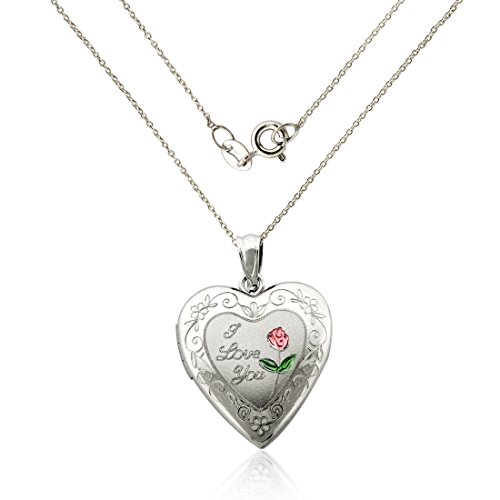 925 Sterling Silver ''I LOVE YOU'' Heart Locket Necklace with pink engraved Flower/18'' chain by AVORA