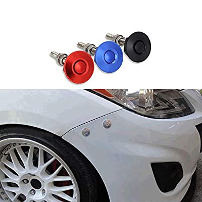 ANJOSHI Pack of 2 Quick Release Latch Universal Push Button Low Profile Hood Pins Lock Car Lock Clip Kit 1.25
