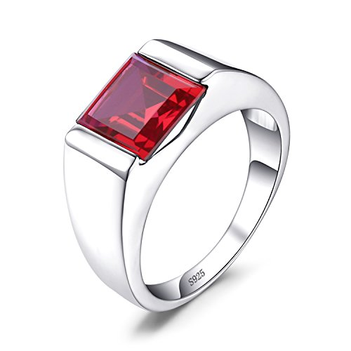 - Jewelrypalace Men's Square 3.3ct Created Red Ruby 925 Sterling Sliver Engagement Ring Size 8