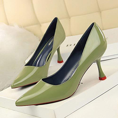 color Pour Cuir Size 40 Hauts White Joyiyuan Sexy Femmes À En Et Chaussures Professionnelles Ol Green Simples Verni Talons Pf86wq