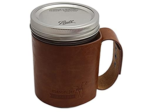 Faux Leather Sleeve with Handle / Travel Mug with Wide Mouth Pint Ball Mason Jar (Pint Mason Jar)