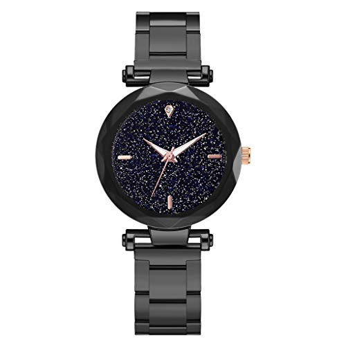 Clearance Sale!DEESEE(TM)Fashion Simple Multi Faceted Bump Star Sky Dial Ladies Steel Belt Quartz Watch (Black) ()