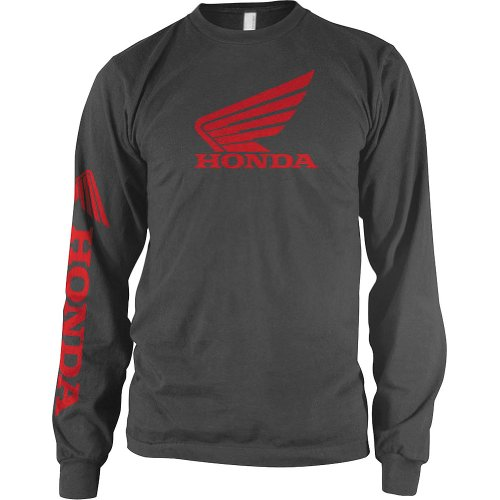 Honda Mens Wing Long-Sleeve Shirt, Grey, (Automotive Apparel)