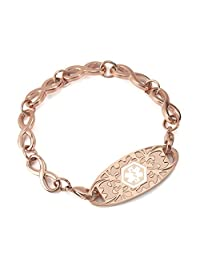 BAIYI Medical Alert ID Bracelets Rose Gold Infinity Chain for Women (Free Engraving)