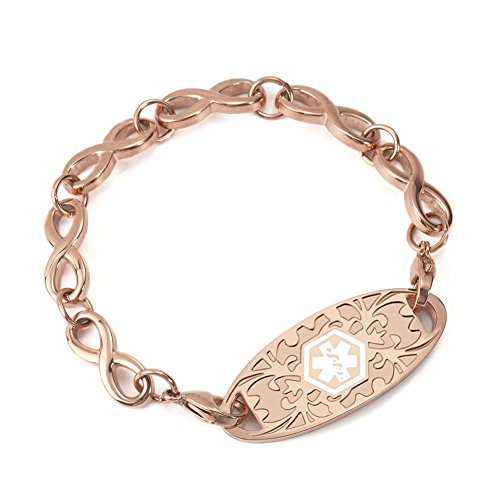 - BAIYI Rose Gold Medical Alert ID Tag with Infinity Chain Bracelets for Women Free Engraving