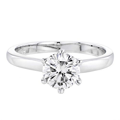 Moissanite Forever One Engagement Ring in 14k Gold 5.00MM 2/5 CT D-E-F VVS (Equivalent 1/2 CT Diamond Weight)