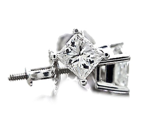 14K White Gold Diamond Earrings 0.45ctw Princess Cut Solitaires Screw Back (i2/i3, i/j) ()