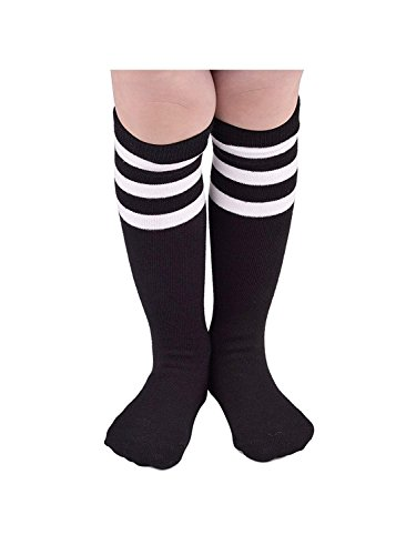 (Durio Girls Thigh High Socks Knit Knee High Socks Striped Cosplay Tube Sock for Kid Boys Stockings Leg Warmers 1 Pack Black w White One)