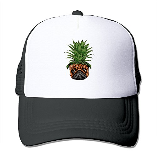 Unisex Fitted Mesh Hat Baseball Caps Black (Funny Pug)
