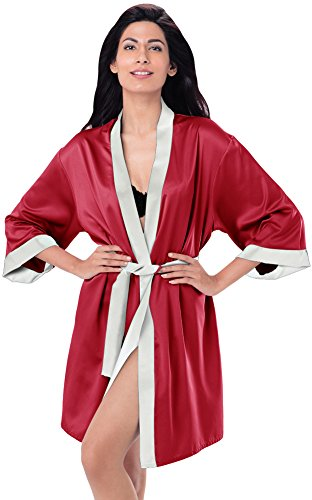 Womens Kimono Robe Knee Length Lingerie Sleepwear Short Satin (L, dark red) (Womens Red Kimono)