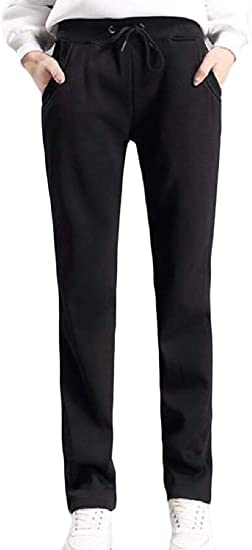 Fly Year-JP 女性の伸縮性ウエスト ドローストリング ストレートフォール 冬 厚手ズボンパンツ