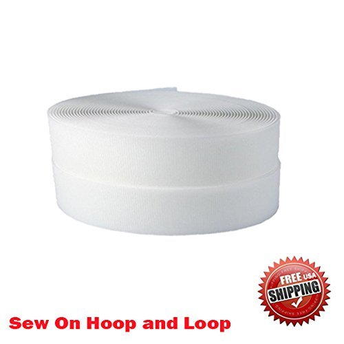 "1"" (Inche) Width Black or White Sew on Hook & Loop - Premium Grade Non-adhesive Sew-on Style Sold Includes Hook and Loop Both Strips Interlocking Tape Sold By 5, 10, 27 Yards (White - 10 yards)"