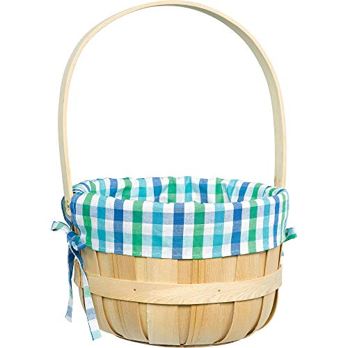 Amscan Round Blue Plaid Liner Easter Basket 9 1/4 x 14 Inches]()
