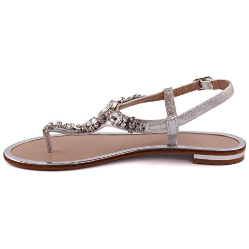 Unze Nuevas mujeres 'Coop' Diamante Embellecido Summer Beach Party Get Together Carnaval Casual Sandalias Planas zapatos UK Tamaño 3-8 Plateado