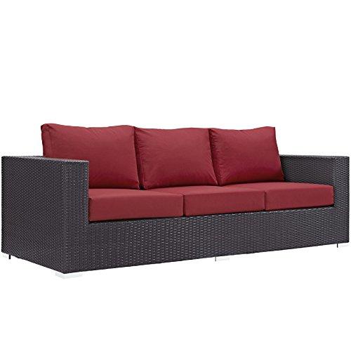 (Modway Convene Wicker Rattan Outdoor Patio Sofa in Espresso Red)