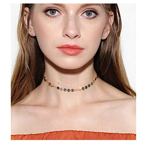 Valloey Women Choker Necklace, Dainty Jewelry 14K Gold Plated Cute Sequin Disc Chain Chokers Necklaces