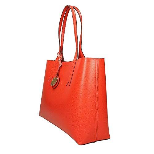 Emporio Handle Leather Bowling Red Bag Top Textured Armani Frida HnwrxgqFH