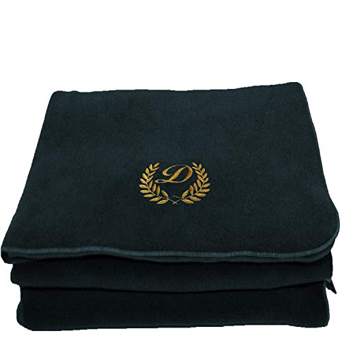 BgEurope Personalized Custom Embroidered Polar Sofa Bed Travel Fleece Blanket - REF. Leaves - Blue Navy